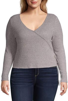 Arizona Long Sleeve V Neck Blouse-Juniors Plus