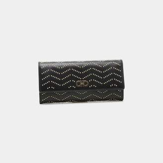 Salvatore Ferragamo Gancini Continental Studded Calfskin Wallet