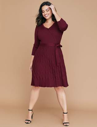 Lane Bryant Mixed Texture Fit & Flare Sweater Dress