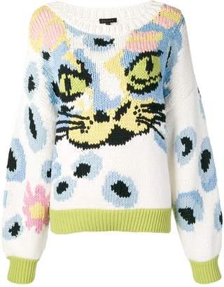 Escada cat face knit sweater
