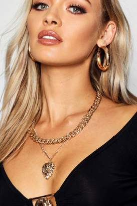 boohoo Chunky Chain & Lion Layered Necklace