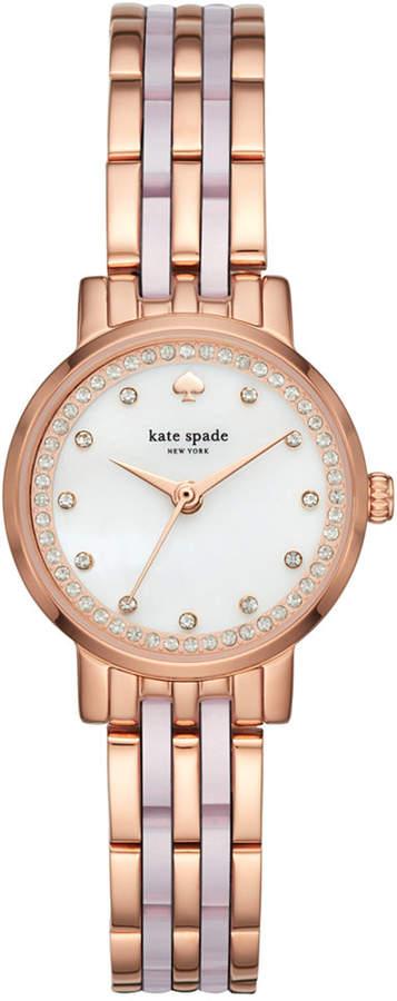 Kate Spadekate spade new york Women's Mini Monterey Rose Gold-Tone Stainless Steel and Blush Pink Acetate Bracelet Watch 24mm KSW1265