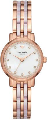 Kate Spade Women's Mini Monterey Rose Gold-Tone Stainless Steel and Blush Pink Acetate Bracelet Watch 24mm KSW1265
