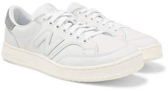 New Balance Ct400 Suede-trimmed Full-grain Leather Sneakers - White