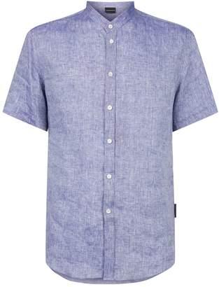 Emporio Armani Linen Mandarin Collar Shirt