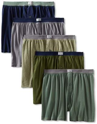 Fruit of the Loom Men's 5-Pack Exposed-Waistband Knit Boxers (Colors May Vary) (XXXX-Large, )