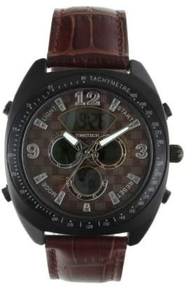 Viva Time Men's 'Timetech Analog Digital' Quartz Metal and Leather Casual Watch