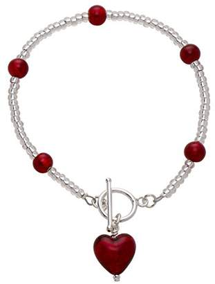 Glass Heart Amanti Venezia Red Murano and Sterling Silver Bracelet of Length 21.5 cm