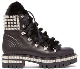 Christian Louboutin Yeti Donna Faux Fur Trim Studded Leather Boots - Womens - Black Silver