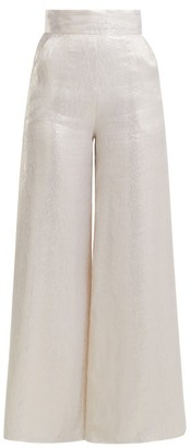 Adriana Iglesias Ana Wide Leg Silk Blend Satin Trousers - Womens - White