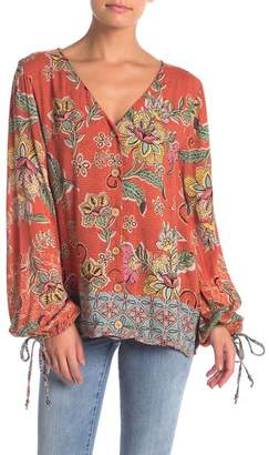 Angie Printed Button Front Blouse