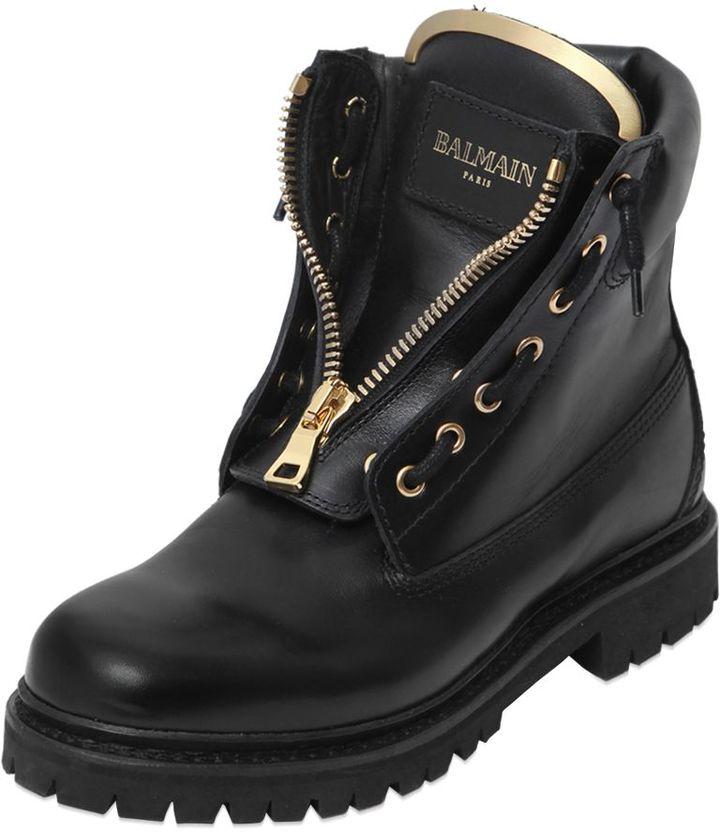 Balmain20mm Taiga Leather Boots