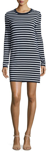 MICHAEL Michael KorsMichael Kors Striped Long-Sleeve T-Shirt Dress, Maritime/White