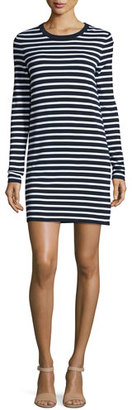 Michael Kors Striped Long-Sleeve T-Shirt Dress, Maritime/White $695 thestylecure.com