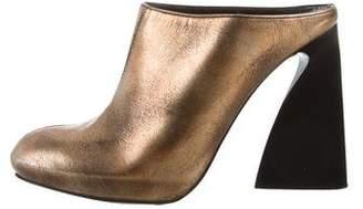 Stella McCartney Vegan Metallic Round-Toe Mules