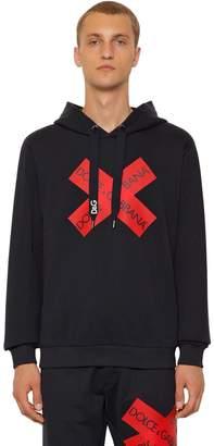 Dolce & Gabbana Cotton Sweatshirt Hoodie W/ Logo Tape