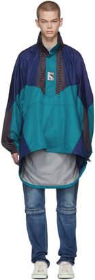 Balenciaga Blue and Navy Double Hem Windbreaker Coat