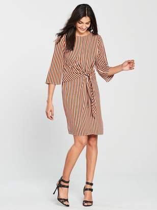 Wallis Rust Stripe Knot Front Dress