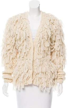 Zac Posen Fringe-Accented Wool Cardigan w/ Tags