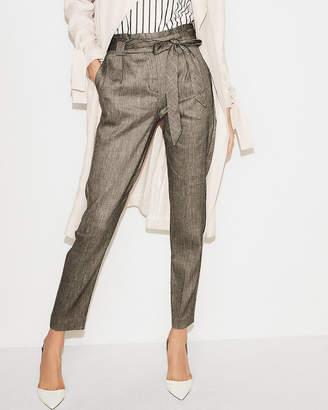 Express Petite High Waisted Linen-Blend Sash Waist Ankle Pant