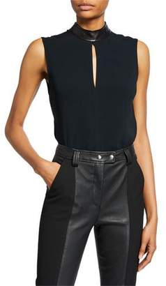 A.L.C. Dallas Sleeveless Collared Keyhole Top