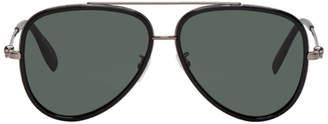 Alexander McQueen Black and Gunmetal Aviator Sunglasses