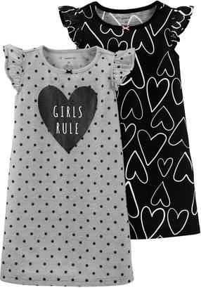 "Carter's Toddler Girl 2-pack ""Girls Rule"" Heart Dorm Nightgowns"