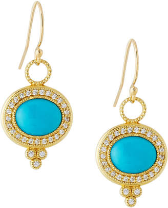 Jude Frances 18K Provence Pavé Diamond & Turquoise Oval Dangle & Drop Earrings