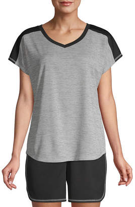 ST. JOHN'S BAY SJB ACTIVE Active Color Block-Womens V Neck Short Sleeve T-Shirt