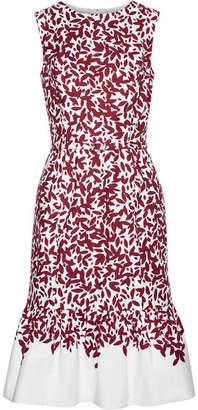Oscar de la Renta - Printed Cotton-blend Canvas Dress - Burgundy $1,790 thestylecure.com