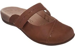 Vionic Cross-Strap Mules with Perforated Detail- Twain