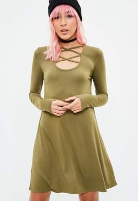 Missguided Khaki Long Sleeve Cross Front Swing Dress