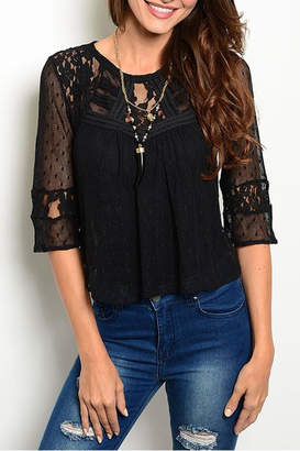 Ark & Co Black Lace Top