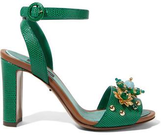 Dolce & Gabbana - Embellished Lizard-effect Leather Sandals - Emerald $995 thestylecure.com