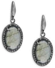 Labradorite Champagne Diamond Drop Earrings