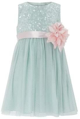 Monsoon Girls Green 'Honor' Sparkle Dress