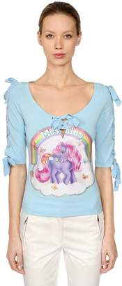 Moschino Little Pony Lace-Up Cotton T-Shirt