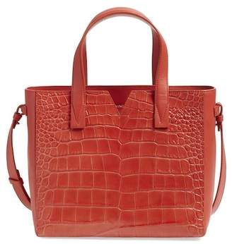 Vince Baby Signature V Croc Embossed Leather Tote Bag