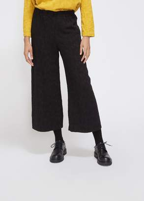 Black Crane Elastic Waist Jacquard Pant