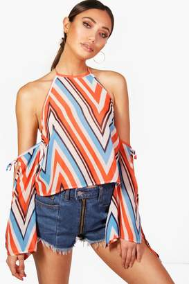 boohoo Chevron Striped Cold Shoulder Halter Top