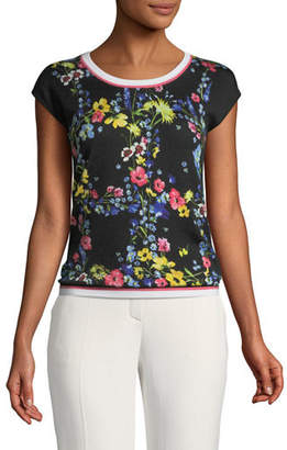 Escada Floral Contrast-Trim Top