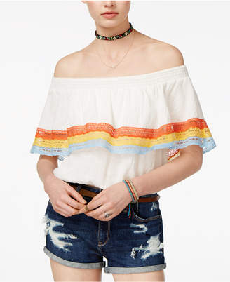 American Rag Juniors' Crochet-Trim Off-The-Shoulder Top, Only at Macy's $39.50 thestylecure.com