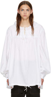Marques Almeida White Gathered Yoke Blouse
