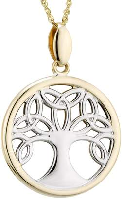 Celtic Solvar Two-Tone Family Tree Pendant w/ Chain, 14K