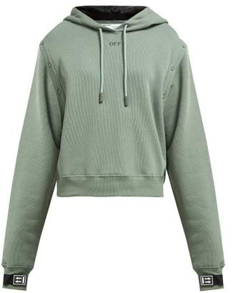 Off-White Off White Detachable Sleeve Cotton Jersey Hooded Sweatshirt - Womens - Green