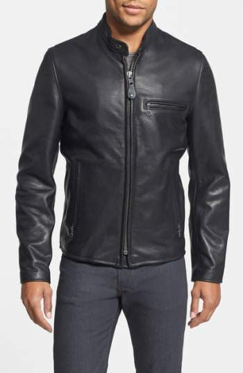 'Cafe Racer' Slim Fit Waxy Leather Moto Jacket