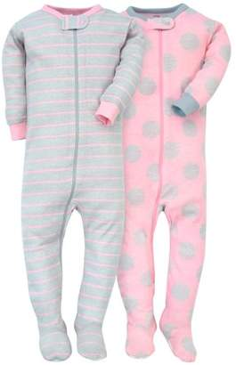 Gerber Baby Girl Assorted Prints Cotton Footed Unionsuits, 2-pack