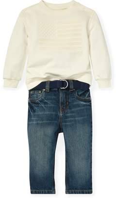 Ralph Lauren Flag Sweatshirt & Jean Set