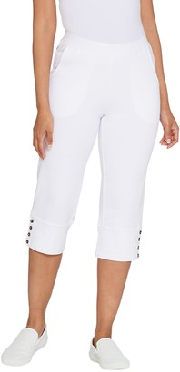 Denim & Co. Active Wide Cuff Knit Capri Pants with Buttons
