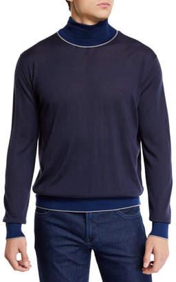 Stefano Ricci Men's Cashmere Colorblock-Trim Turtleneck Sweater
